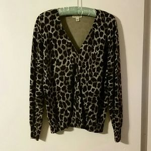 Woman's brown / black animal print cardigan szL